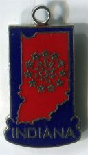 Buy Vintage Unmarked Silver and Enamel Indiana Travel Souvenir Charm