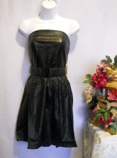 Buy Have & Have Black Soft Faux Leather Strapless Belted Holiday Party Dress Size L