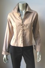 Buy united Jeans NEW Khaki Stretch Cotton Lace-Up Long Sleeve Pull Over Shirt M PR