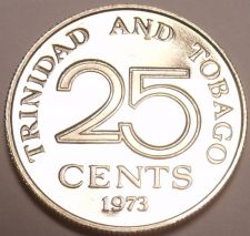 Buy Rare Proof Trinidad & Tobago 1973 25 Cents~Only 20,000 Minted~Free Shipping