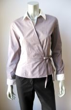 Buy Willi Smith NEW Gray Stretch Cotton Kimono Front Long Sleeve Button Down Shirt S