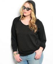 Buy Libian Black V-Neck Long Sleeves Quilted Pullover Hoodie Sweatshirt Size 1X-3X