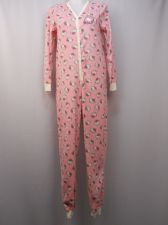Buy Hello Kitty Women's One Piece Drop Seat Pajamas Size M Fleece Back Applique Pink