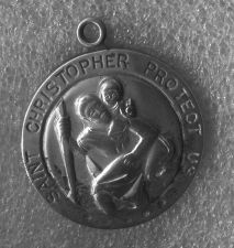 Buy Vintage Chapel Sterling : Saint St Christopher - Protect Us / 32mm Diameter
