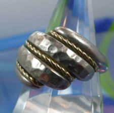 Buy sz 9.5 Ring : Hammered Sterling Marc Anthony (MA) Twisted 14K Gold Cable