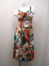 Buy Floral Spaghetti Strap Multi-Color Smocked Elastic Waist Beach Sundress Size M