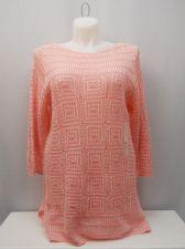 Buy Jeanne Pierre Women's Crocheted Tunic Sweater Plus Size 1X Pink Combo Boat Neck