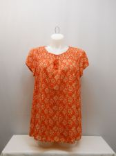 Buy SIZE XL Womens Tunic Smocked Peasant Top FADED GLORY Orange Floral Short Sleeves