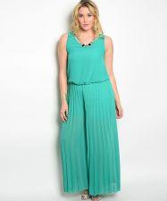 Buy VivaYou Jade Jeweled Plunging Ruffle Back Pleated Wide Leg Jumpsuit Size 1XL-3XL