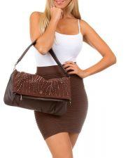 Buy Brown Studded Fold Over Clutch/Handbag Faux Leather Purse Shoulder Bag