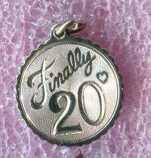 Buy Vintage 20th Birthday Charm : Finally 20 - Sterling 925 Silver