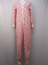 Buy Hello Kitty Women's One Piece Drop Seat Pajamas Size L Fleece Back Applique Pink