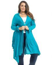 Buy Black'N'Blue Turquiose Long Sleeves Thin Knit Wrap Hooded Cardigan Size 1XL-3XL