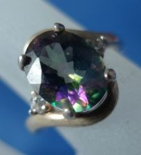 "Buy sz 5 Ring Sterling 10mm Oval Alexandrite or Aurora Mystic Topaz & Baguettes ""A"""