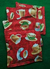 Buy Drink Coasters set of 4 Coffee Cups Print 100% Cotton Handmade