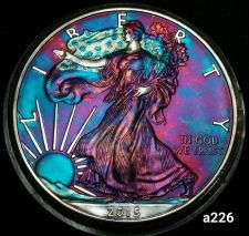 Buy 2015 Rainbow Toned Silver American Eagle 1 ounce fine silver uncirculated #a226