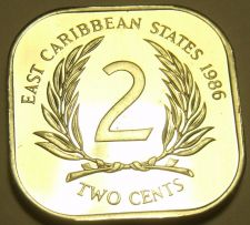 Buy Rare Proof East Caribbean States 1986 2 Cents~Only 2,500 Minted~Free Shipping