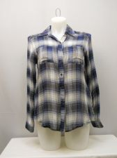 Buy SIZE XL Womens Button Down Shirt SELF ESTEEM Plaid Lace Back Skirt Long Sleeves