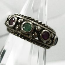 Buy sz 6 Ring Sterling Silver Multi Gemstone (NOT GLASS) Mother's Band signed CNA