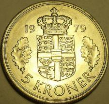 Buy Huge Rare Unc Denmark 1979 5 Kroner~Minted In Copenhagen~Margrethe II~FS