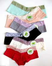 Buy A0031 Honeydew Intimates Luxurious Panel Lace Stretch Cotton Boyshorts 408 New L