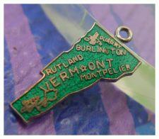 Buy vintage GREEN ENAMEL TRAVEL SOUVENIR MAP CHARM : VERMONT : F STERLING