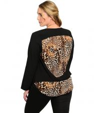 Buy Style Out Women's Blazer Plus Size 1X-2X Black Animal Print Long Sleeves Button