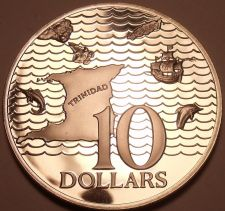 Buy Rare Silver Proof Trinidad & Tobago 1973 $10.00~Only 24,000 Minted~Free Shipping