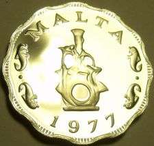 Buy Rare Cameo Proof Malta 1977 5 Mils~Earthen lampstand~Only 6,884 Minted~Free Ship