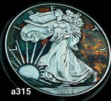 Buy High Grade Rainbow Toned Silver American Eagle 1oz fine silver uncirc. #a315
