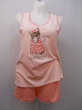 Buy SIZE L Women 2PC Knit Shorty PJ Set SECRET TREASURES Pink Polka Dots Sleeveless
