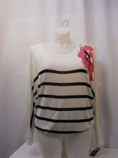 Buy I-N-C Sweater Plus Size 1X Floral & Striped Scoop Neck Long Sleeve Sequins