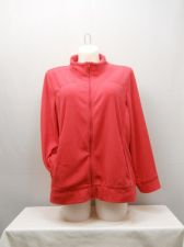 Buy PLUS SIZE 2X Womens Fleece Athletic Jacket Solid Cherry Red ERIKA Long Sleeves