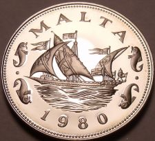 Buy Large Rare Proof Malta 1980 10 Cents~Barge Of The Grand Master~3,451 Minted~Fr/S