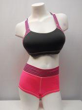 Buy Danskin Women's 36C/M (6) Grey Pink Striped 2 PC Molded Sport Bra & Boy Shorts