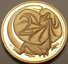 Buy Cameo Proof Australia 1989 2 Cents~Frilled-Neck Lizard~67,000 Minted~Free Ship