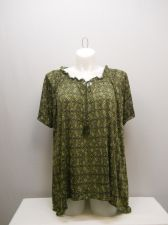 Buy PLUS SIZE 1X Womens Tunic Top FADED GLORY Green Diamond Scoop Neck Short Sleeves