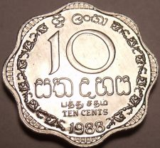 Buy Gem Unc Sri Lanka 1988 10 Cents~Last Year Ever Minted~Scalloped~Free Shipping
