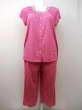 Buy SIZE XL Women 2PC Knit PJ Set SECRET TREASURES Pink Floral Scoop Neck Crop Pants