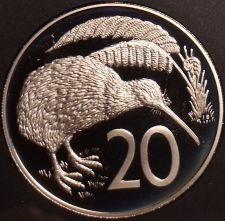 Buy Rare Cameo Proof New Zealand 1986 20 Cents~10,000 Minted~Kiwi Bird~Free Shipping