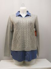 Buy Faded Glory Women's Sweater Size XL Solid Grey Layered Twofer Collared Pullover