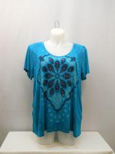 Buy PLUS SIZE 2X Women Knit Top TRU SELF Teal Embellished Short Sleeve Lace Back Hem