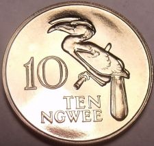 Buy Rare Proof Zambia 1978 10 Ngwee~Crowned Hornbill~Extreme Low Mintage 24,000~Fr/S