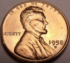 Buy United States 1958-D Unc Lincoln Wheat Cent~Free Shipping