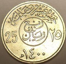 Buy Unc Saudi Arabia AH1400 (1979) 25 Halala~We Have middle Eastern Coins~Free Ship
