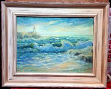 "Buy LISTED ARTIST NINA W. SCULL(RUSSIAN/AMERICAN(1902-1979)""SEASCAPE"" OIL ON CANVAS"