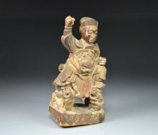 Buy QING DYNASTY(1644-1911) PAINTED CARVED WOOD TEMPLE GUARDIAN
