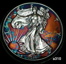 Buy 2015 Rainbow Monster Toned Silver American Eagle 1oz fine with velvet case #a310