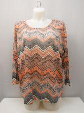 Buy Almost Famous Women's Knit Top Plus Size 3X Semi Sheer Chevron Pullover MultiCol