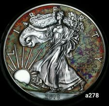 Buy 2015 Rainbow Toned Silver American Eagle Coin 1 ounce silver uncirculated #a278